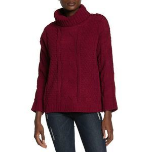 JUST MADISON XL Red Turtleneck Cable Sweater